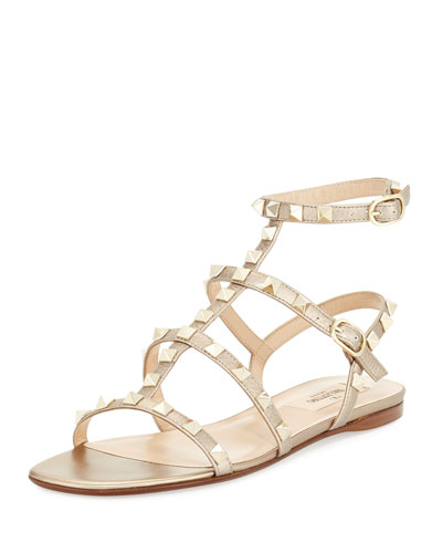 Rockstud Leather Flat Sandal, Skin