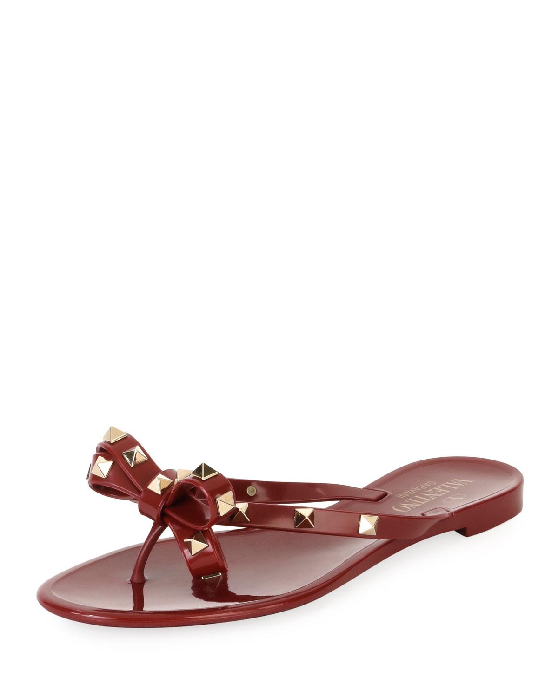 96a17aa7dbb16 Valentino Garavani Jelly Rockstud Flat Thong Sandals | Neiman Marcus