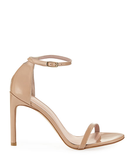 Image 3 of 6: Stuart Weitzman Nudistsong Patent Ankle-Wrap Sandals