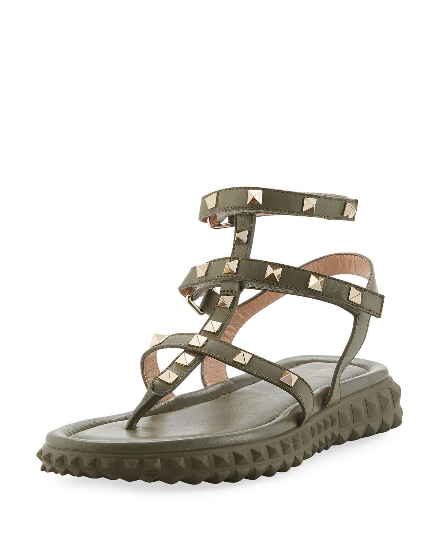 54805969ec1 Valentino Garavani Free Rockstud Gladiator Thong Sandal w  Rubber ...