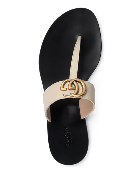 Image 4 of 4: Gucci Flat Marmont Leather Thong