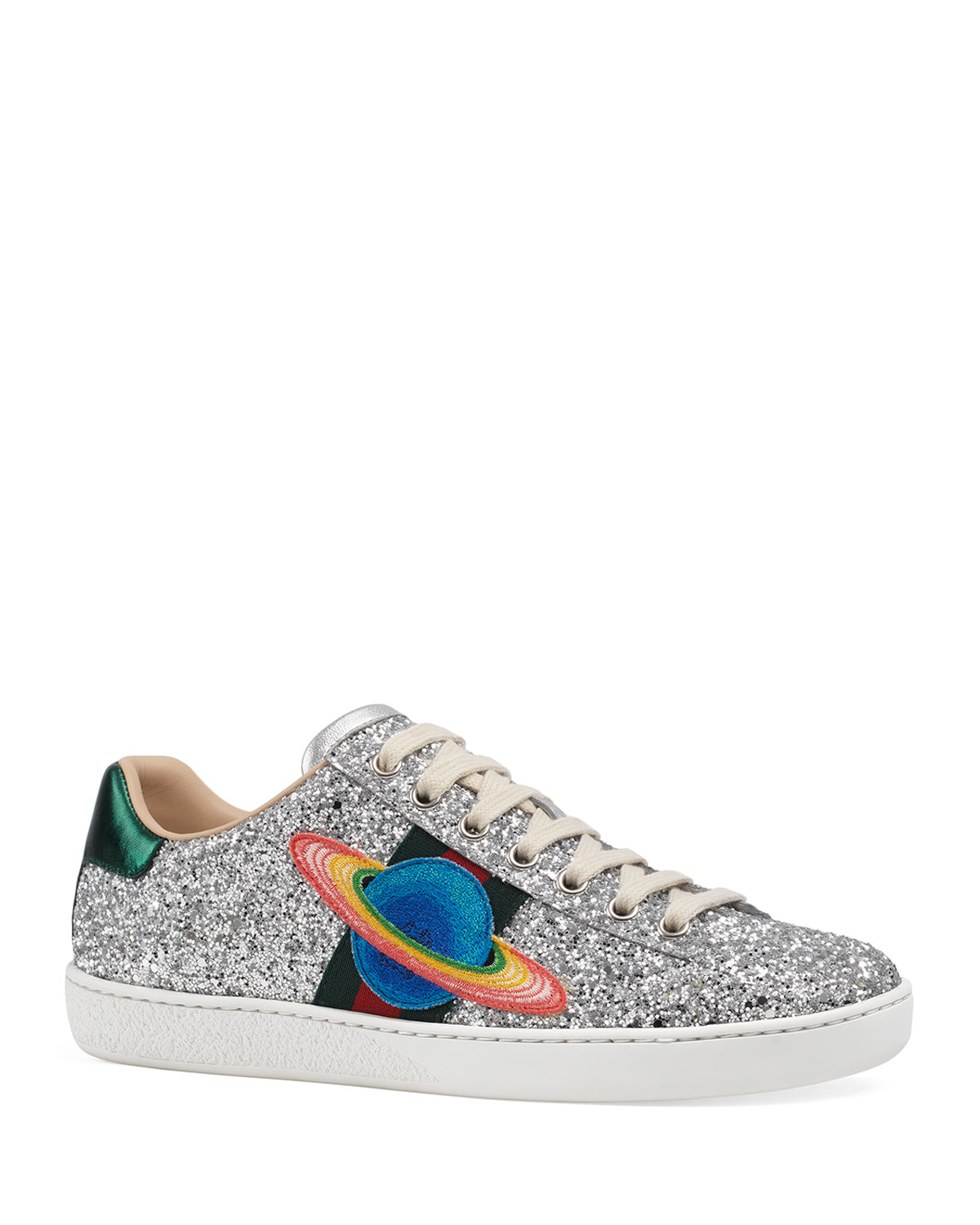 03fa5fbccf09 Gucci New Ace Saturn Glitter Trainer