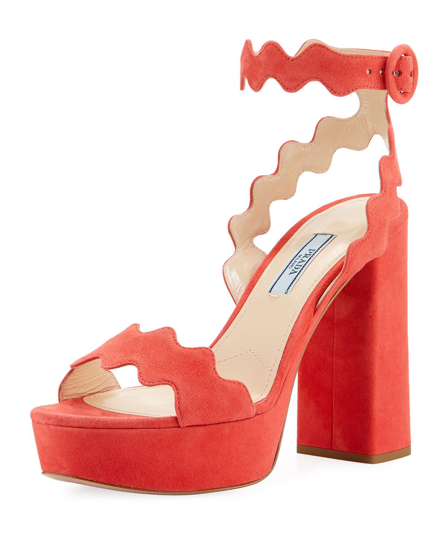 b92bd6c9737 Prada Scalloped Suede Platform Sandal