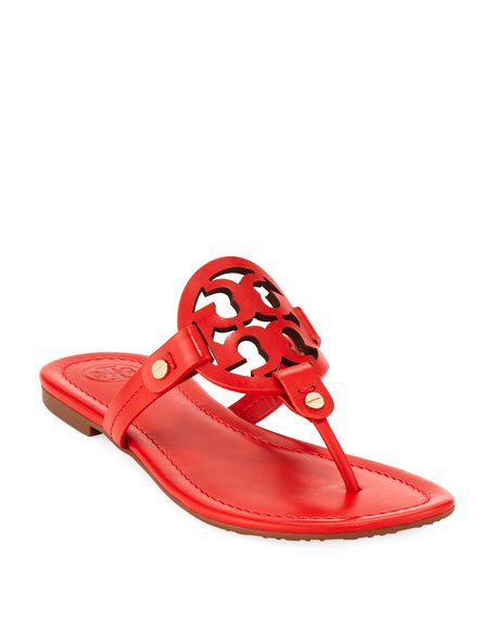 3c37b3246929 Tory Burch Miller Leather Logo Flat Slide Sandals