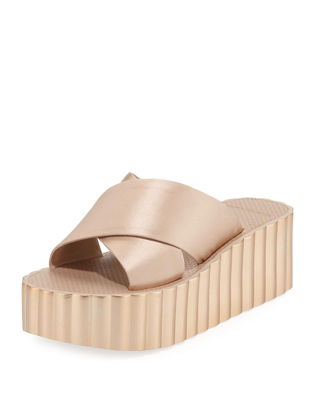 8ea69233d7 Tory Burch Scallop Wedge Platform Slide Sandal | Neiman Marcus