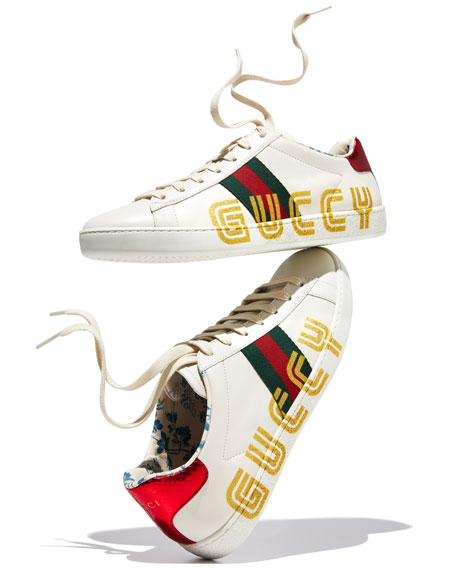 3fb3ff57a Gucci New Ace Guccy Leather Sneaker   Neiman Marcus