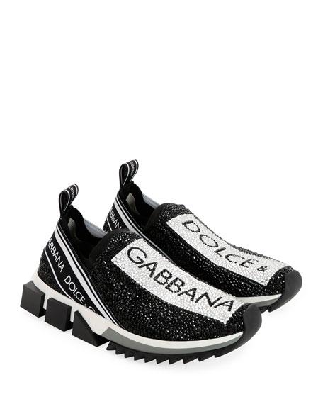 Dolce & Gabbana Crystal Logo Slip-On Trainer Sneaker