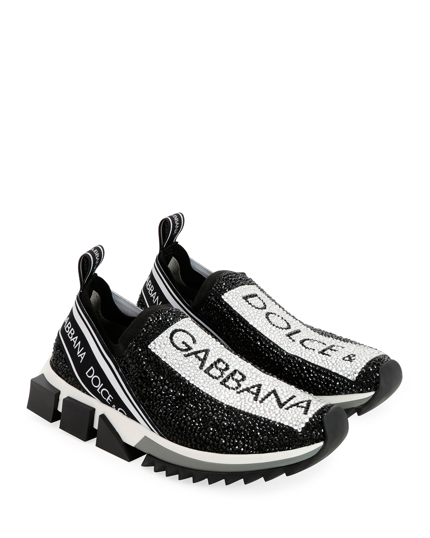 Dolce \u0026 Gabbana Crystal Logo Slip-On
