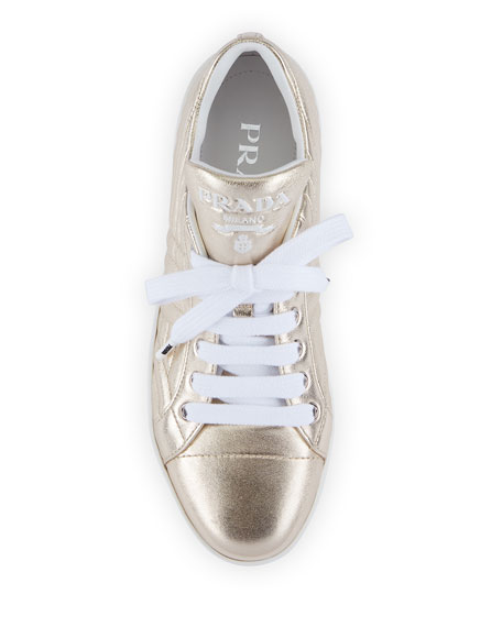 Prada Quilted Metallic Leather Sneakers