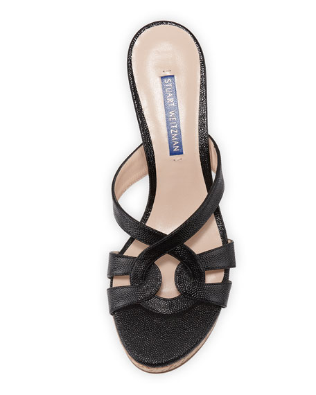 Stuart Weitzman Cadence Patent Leather Wedge Sandals