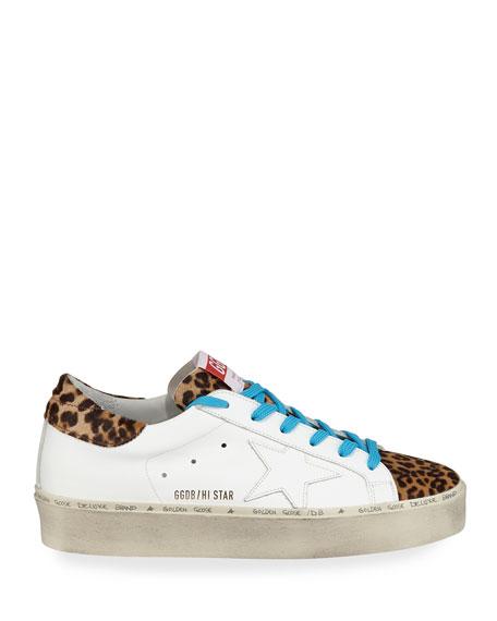 Golden Goose Hi Star Leather & Leopard Platform Sneakers