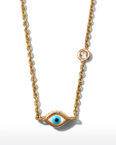Sydney Evan 14k Gold Evil Eye Necklace with