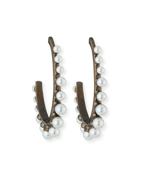 Oscar de la Renta Crystal Pearl Hoop Earrings