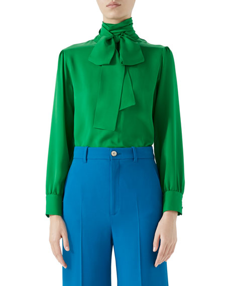 Gucci Button-Back Long-Sleeve Scarf-Neck Silk Satin Georgette