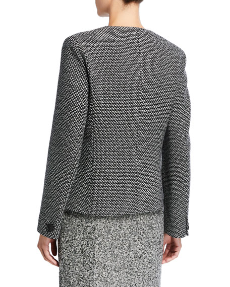 Maxmara Tweed Leather-Trim Button-Front Jacket