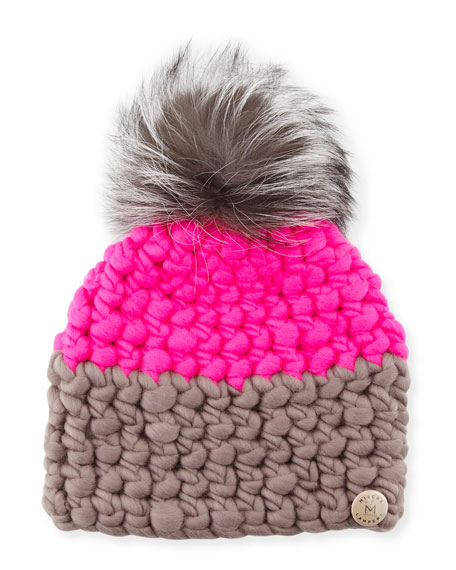 Two-Tone Wool Fox-Trim Beanie Hat