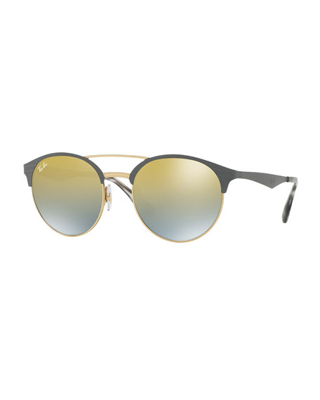 Ray-Ban Mirrored Iridescent Round Double-Bridge Sunglasses