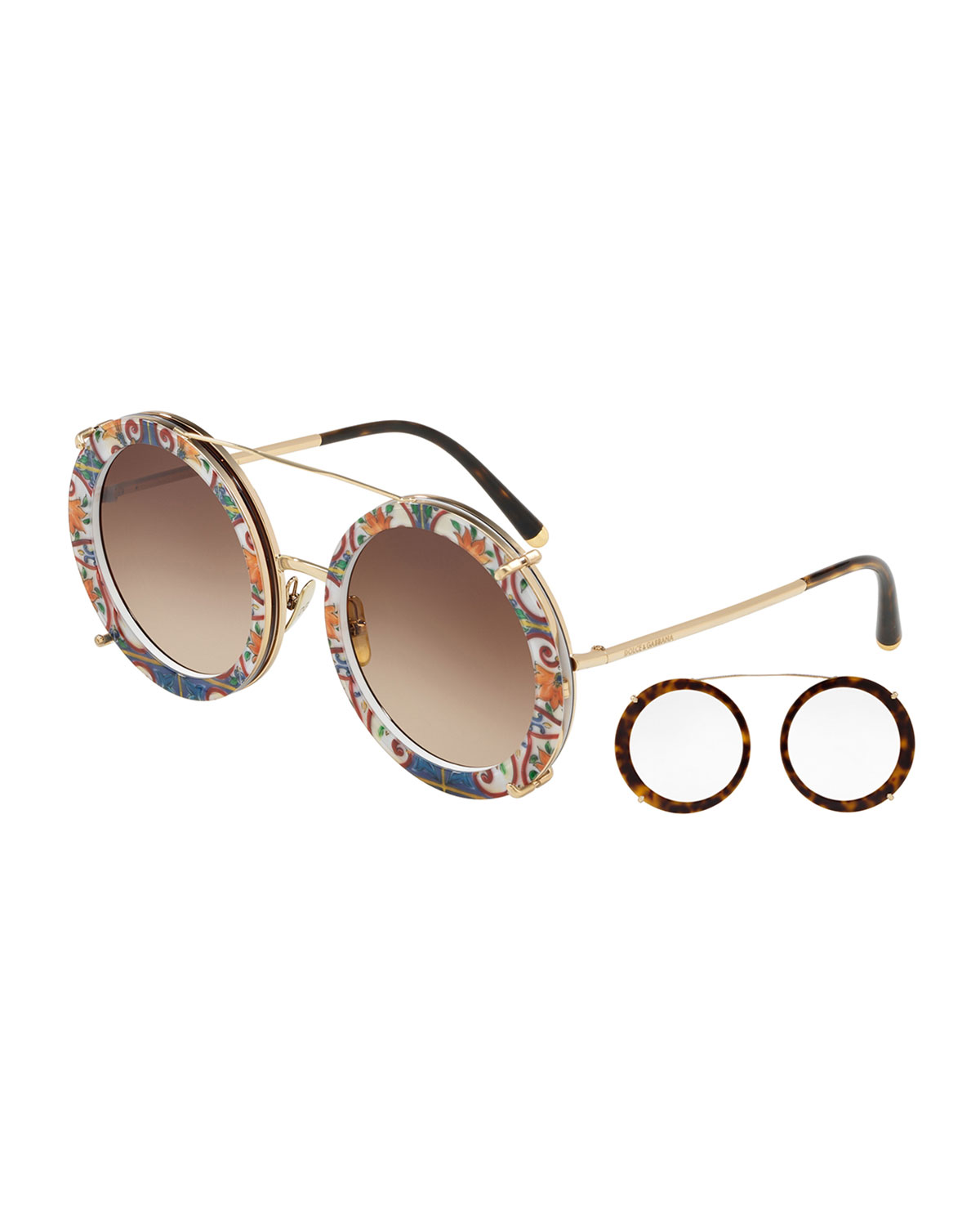 6744aa5d56ed8 Dolce   Gabbana Round Clip-On Front Metal Sunglasses