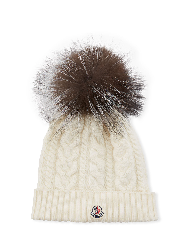 bd2b8a01987 Moncler Cable-Knit Beanie Hat w  Fur Pompom
