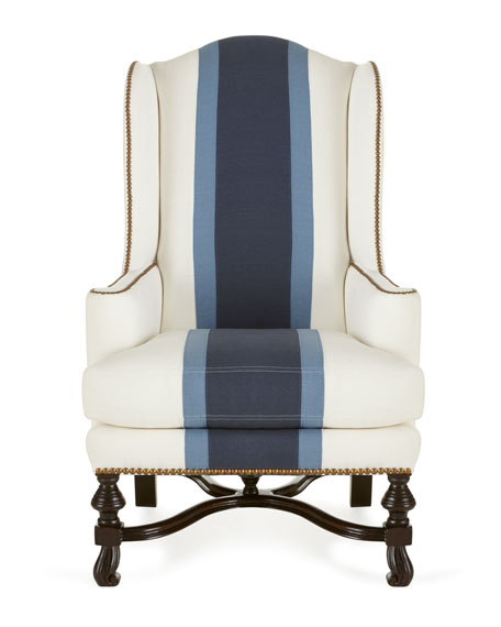 Blue Colorblock Wing Chair