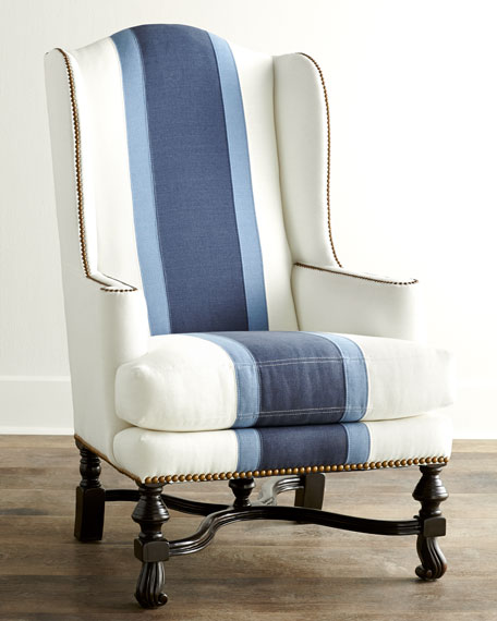 BLUE COLOR BLOCK WING CHAIR
