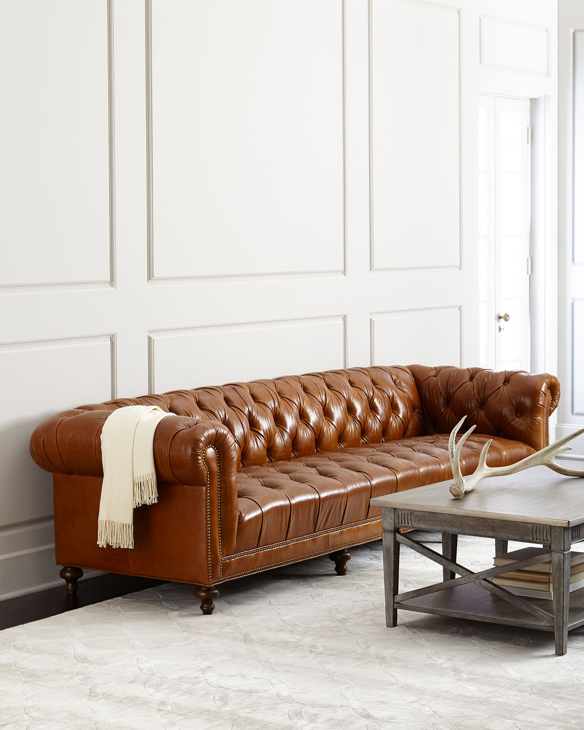"Massoud Davidson 69"" Tufted Seat Chesterfield Sofa"