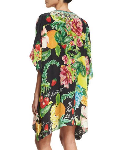 Short Lace-Up Embellished Silk Kaftan Swim Coverup, One Size