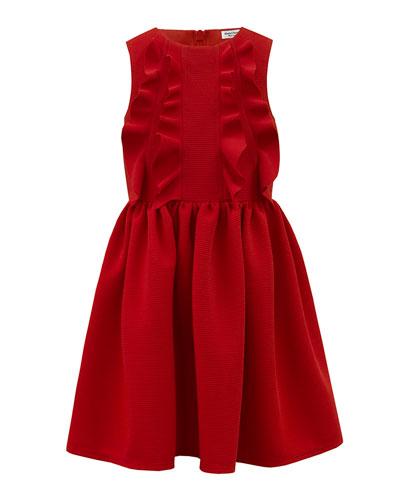 Rib Knit Ruffle-Trim Sleeveless Dress  Size 4-8