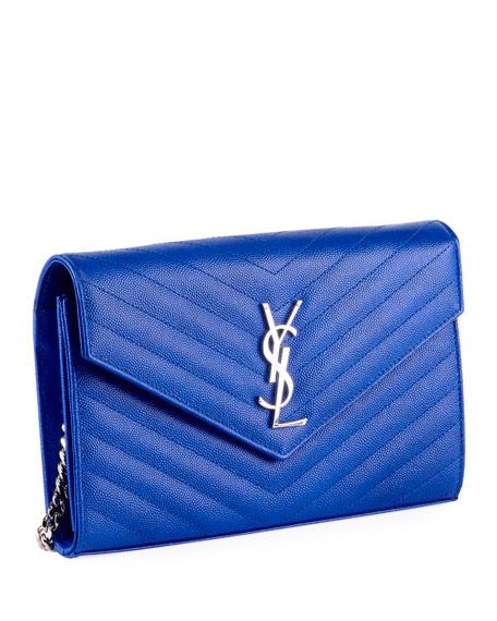 Saint Laurent Monogram YSL Large V-Flap Grain de Poudre Calfskin Wallet on Chain