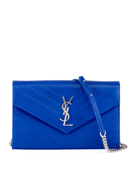 a48ca51b3cef Saint Laurent Monogram YSL Large V-Flap Grain de