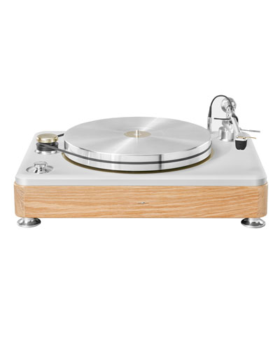 The Runwell White Oak Wood Turntable, Silver/Oak
