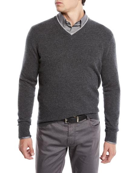 Neiman Marcus Men's Cashmere Contrast-Trim Sweater