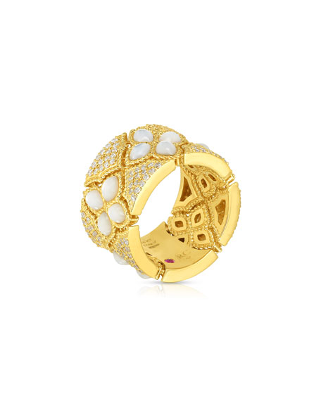 Roberto Coin Venetian Princess 18k Gold Mother-of-Pearl Ring, Size 6.5