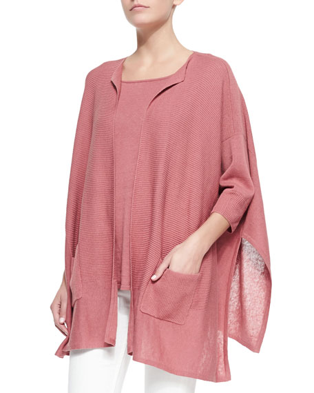Neiman Marcus Textured Cardigan and Tank Set