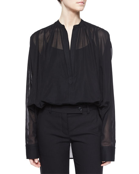 Helmut Lang Poet Sheer Long-Sleeve Blouse