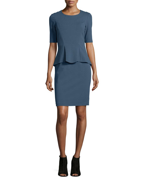 Lafayette 148 New York Sheath Dress W/ Front Peplum