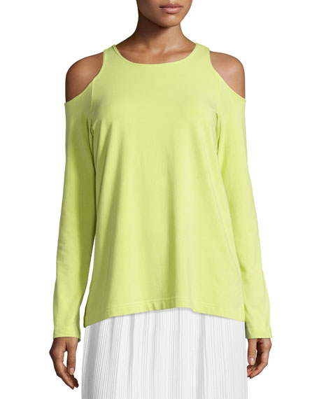 Cold-Shoulder Long-Sleeve Top, Plus Size