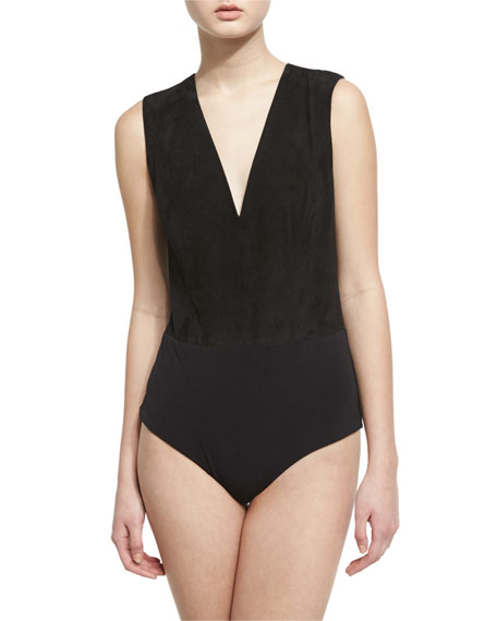 Alice + Olivia Wanda V-Neck Sleeveless Suede Bodysuit