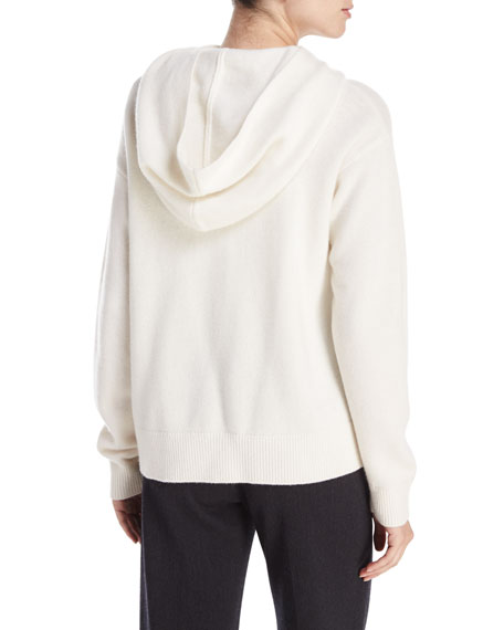Vince Crossover Cashmere-Wool Hoodie Sweater