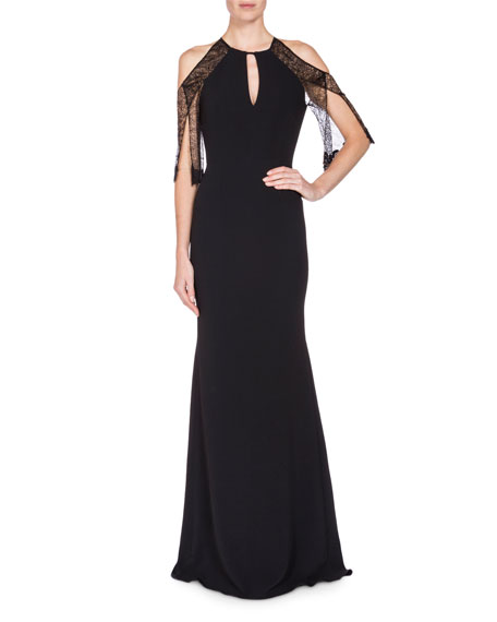 Lace-Sleeve Keyhole Mermaid Gown, Black