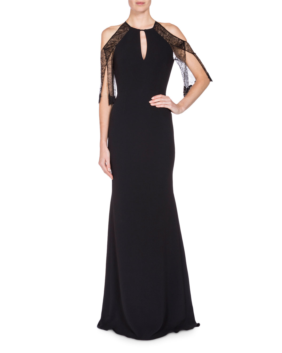 Roland Mouret Lace-Sleeve Keyhole Mermaid Gown, Black | Neiman Marcus