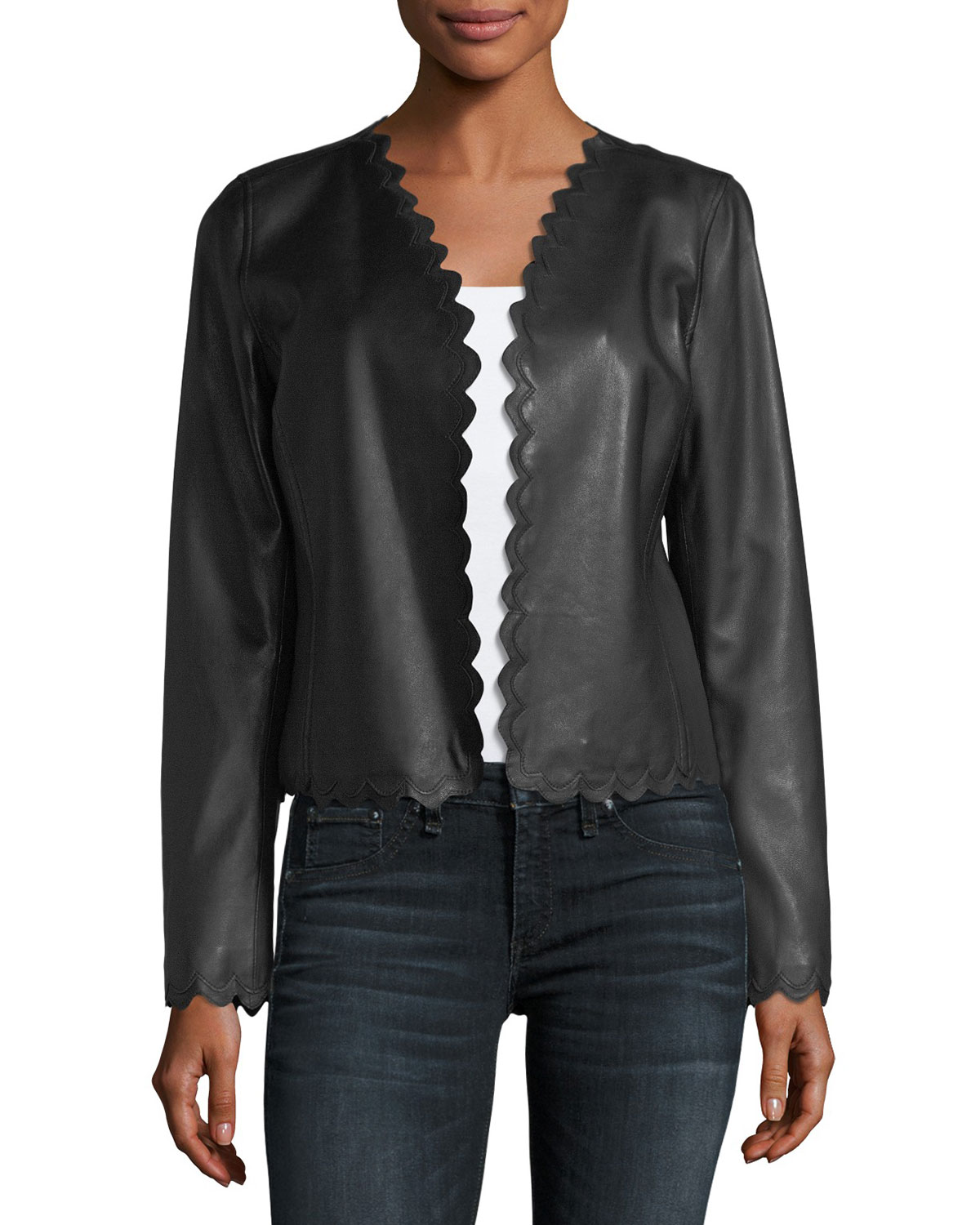 Neiman Marcus Leather Collection Scalloped Cropped Leather ...