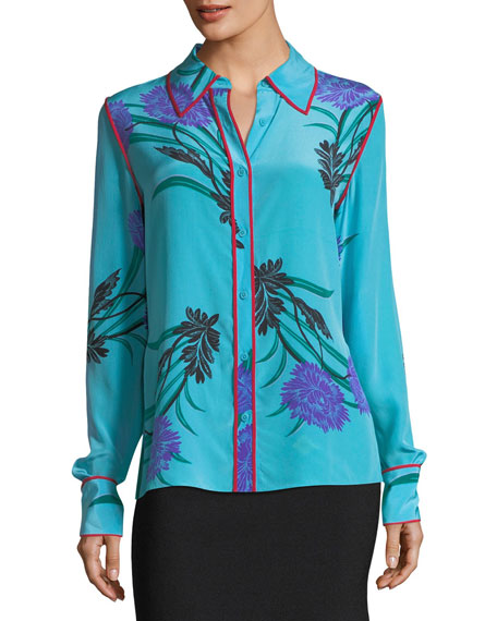 Image 2 of 3: Long-Sleeve Collared Silk Shirt