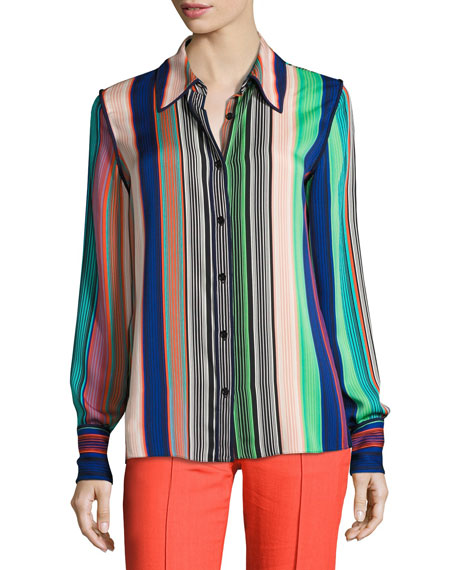 Image 1 of 3: Long-Sleeve Collared Silk Shirt