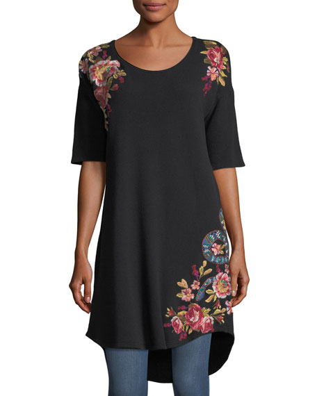 Malui Floral-Embroidered French Terry Tunic
