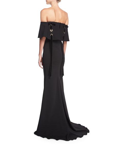 Off-the-Shoulder Crepe Evening Gown w/ Velvet Laces