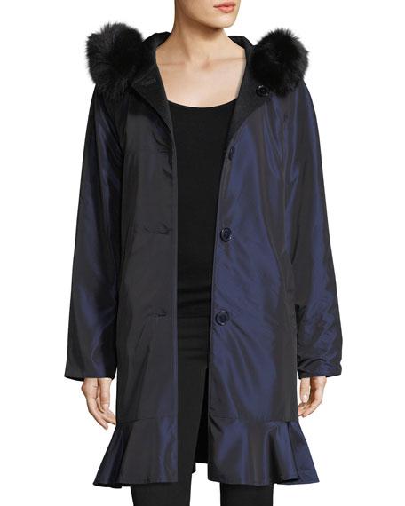 Sofia Cashmere Long-Sleeve Button-Front Reversible Raincoat w/ Fur Trim