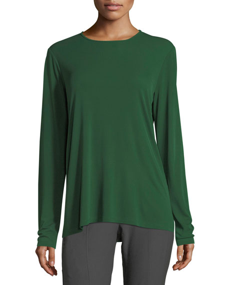 Crewneck Stretch Silk Jersey Top