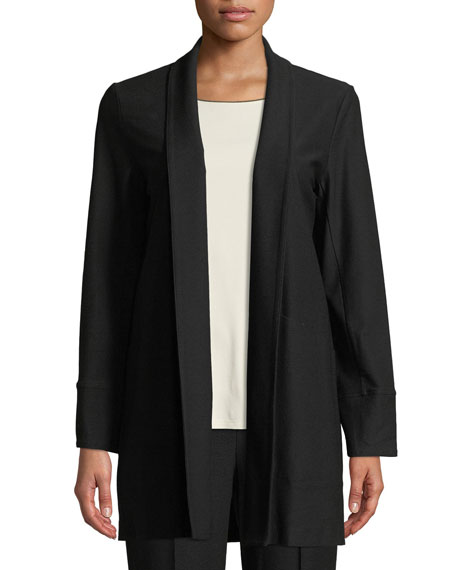 Stretch-Crepe Open-Front Long Jacket