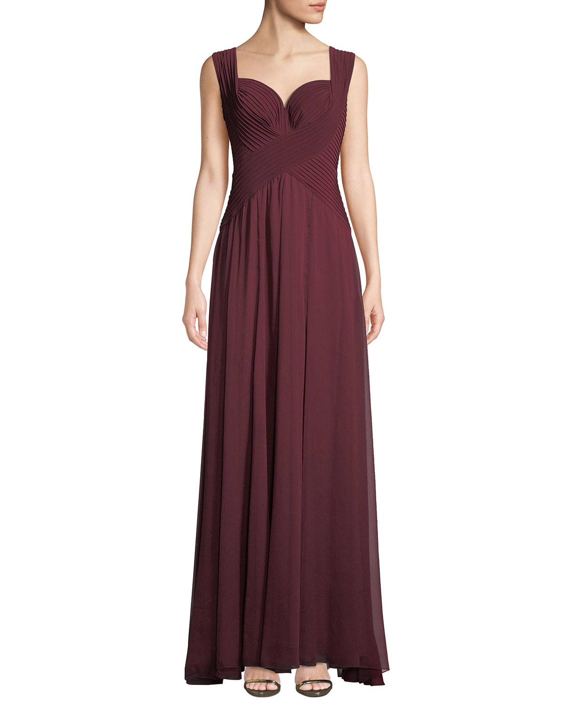 0dd9302b4a52 Tadashi Shoji Sleeveless Pintuck Jersey & Chiffon Gown | Neiman Marcus